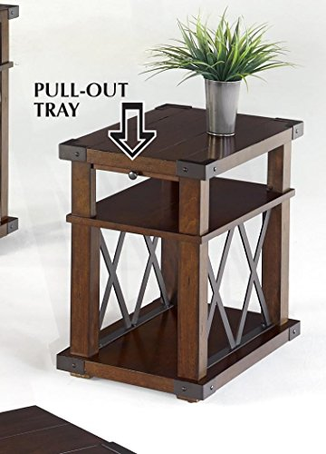 Progressive Furniture P527-29 Landmark Chairside Table, Vintage Ash - Distressed finish A pull out tray and lower shelves provide extra storage on this Chairside table Tops and shelves feature planked Construction - living-room-furniture, living-room, end-tables - 51UCG6Pi sL -