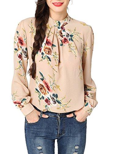 Abollria Women's Flower Print Long Sleeve Stand Collar Casual Chiffon Blouse Shirt Tops