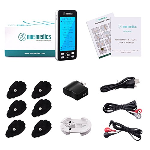 Tens Unit Machine Pulse Massager 24 Massage Modes [Lifetime Warranty] Rechargeable Muscle Stimulator Device with 6 Large Pads for Pain Relief, Body Building FDA 510K Cleared Neck Back Pain Relief by NueMedics (Image #1)
