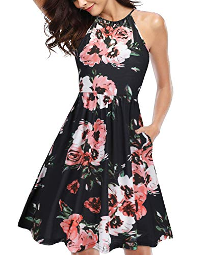 KILIG Women's Halter Neck Floral Sundress Casual Summer Dresses with Pockets (Floral -