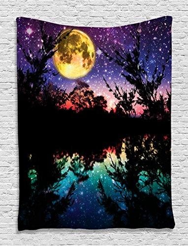 Lake at Moonlight Digital Printed Tapestry Wall Hanging Wall Tapestry Living Room Bedroom