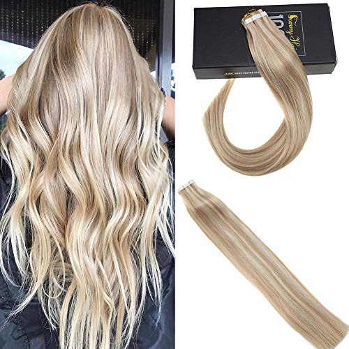 Sunny Remy Silky Straight Tape Hair Extensions Blonde Color Ash Blonde Mixed Bleach Blonde Real Human Hair Tape in Extensions 20inch 20pcs/50g