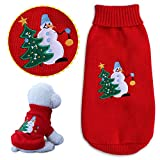 WarmShe Christmas Pet Dog Cat Sweaters, Winter Warm Pet Sweaters Clothes for Dog Cat, Holiday Festival Knitted Pet Wear, Snowman and Tree