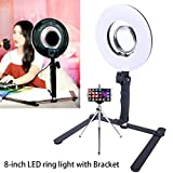 Selfie Ring Light For Phone Video Shooting Makeup YouTube Vine Portrait Photography With Stand Mirror Table Top Dimmable LED Photo 8-inch 24W 5500K Video Lights Lamps