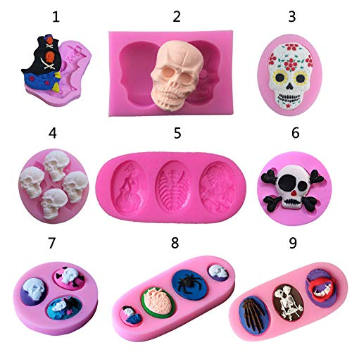 Skull Christening Mould Halloween Fondant Cake decoration Silicone Molds Cupcake Baking Tools handmade soap -