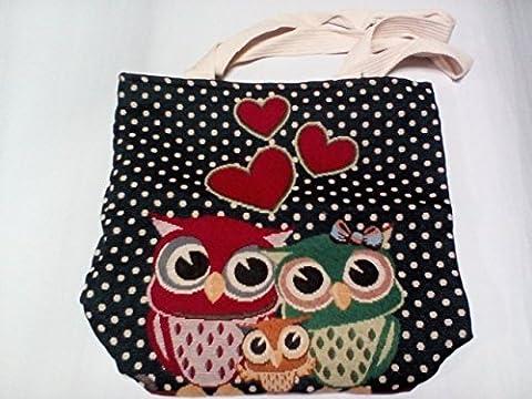 Women's Cotton Shoulder Hand Bag Tote Bag Owl - Crystal Quilted Jacket