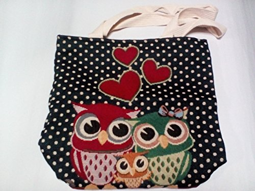 Women's Cotton Shoulder Hand Bag Tote Bag Owl (Godiva Hours)