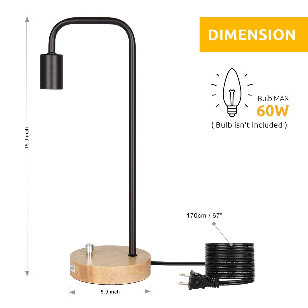 HAITRAL Desk Lamp Wooden Industrial Table Lamp for Office, Bedroom, Living room by HAITRAL (Image #6)