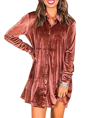 Womens Button Down Tunic Shirts Long Sleeve Boyfriend Velvet Mini Dresses ()