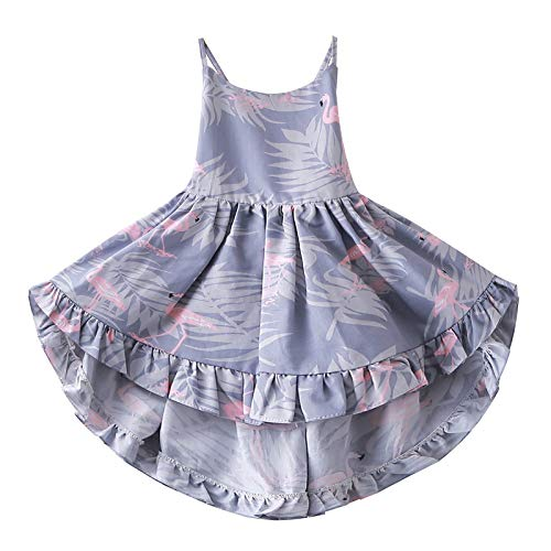 Girls' Camisole Printed Cotton Dress Twirly Dresses Swallowtail Dress,Purple 7/8 -
