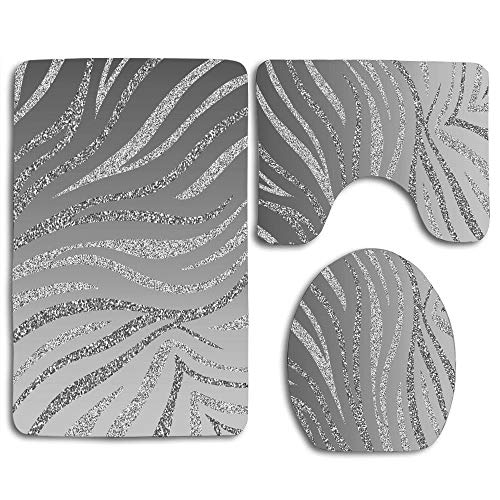 zhurunshangmaoGYS Silver Glitter Zebra Cute Soft Comfort Flannel Bathroom Mats,Anti-Skid Absorbent Toilet Seat Cover Bath Mat Lid Cover,3pcs/Set Rugs