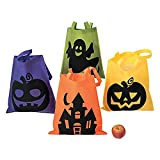 "4 Large Neon HALLOWEEN Trick or Treat TOTES/BAGS/PARTY FAVORS/Goodie Bags/POLYESTER/GHOST Pumpkin WITCH/ICONIC/16"" X 16"""