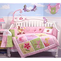 SoHo Butterflies Meadows Baby Girl Crib Nursery Bedding Set 13 pcs included Diaper Bag with Changing Pad & Bottle Case