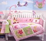 SoHo Butterflies Meadows Baby Crib Nursery Bedding Set 13 pcs included Diaper Bag with Changing Pad & Bottle Case