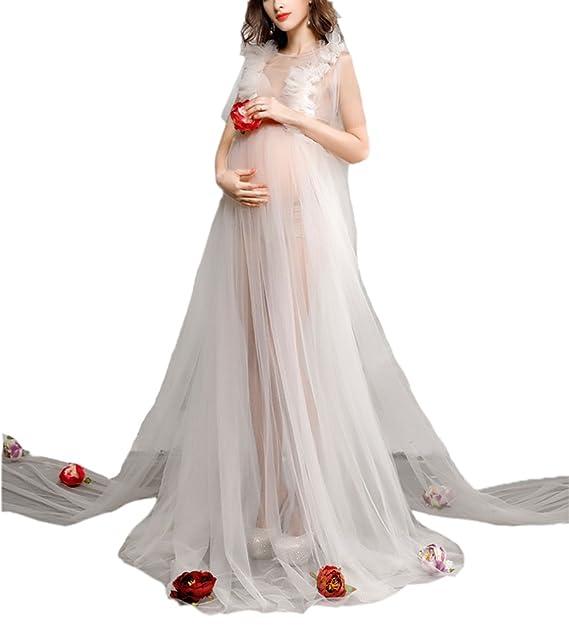 Hellomiko Vestido de Noche de Mujer Embarazada Moda Malla Transparente Fotografía Apoyos de Fotos: Amazon.es: Ropa y accesorios
