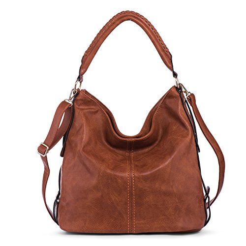 PU Leather Shoulder Bag for Women Hobo Handbag Large Capacity Crossbody Bags Top Handle Tote Purse Brown + Katloo Nail Clipper