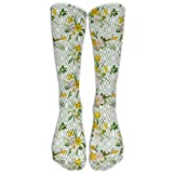 ABC0KJX Unisex Non Skid Socks Diamond Pattern With Blooming Floral Arrangement Petals And Leaves Yellow Men And Women Socks