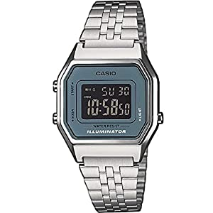 Casio Collection LA680WEA-2BEF – Reloj retro para Mujer, correa de acero inoxidable plateado