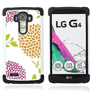 For LG G4 H815 H810 F500L - floral white vintage orange pink Dual Layer caso de Shell HUELGA Impacto pata de cabra con im??genes gr??ficas Steam - Funny Shop -
