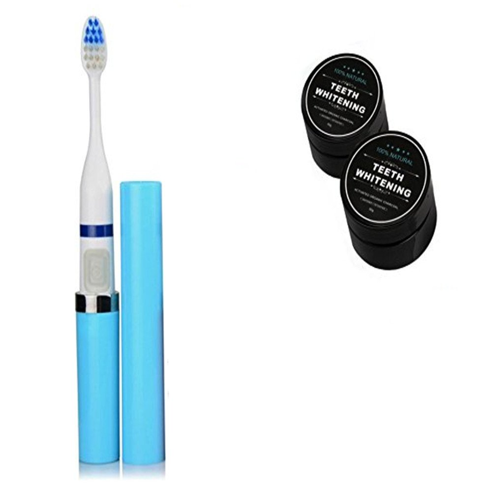 PU Health Pure Acoustics Electric Toothbrush with Replacement Heads and Teeth Whitening Powder, Blue, 59.53 Gram