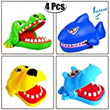 PartyYeah 4Pcs Shark Hippopotamus Dog Crocodile Biting Finger Game Funny Toys For Children Kid adult, Cute Gifts Crocodile Mouth Dentist - 1 To 4 Players, Ages 4 and Up, In Random Colors