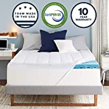 Sleep Innovations 4-inch Plush Support Gel Memory Foam Mattress Topper with Air Channels and Fiberfill Queen, Made in The USA with a 10-Year Warranty