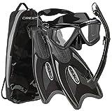 Cressi Palau Traveling Premium Snorkel Set, Panoramic Wide View Adult Diving Snorkeling Mask, Desert Dry Snorkel, Adjustable Fins, Travel Gear Bag - Black Titanium - Medium/Large
