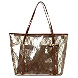 Donalworld Waterproof Semi Clear Lace PVC Beach Shoulder Bag Brown