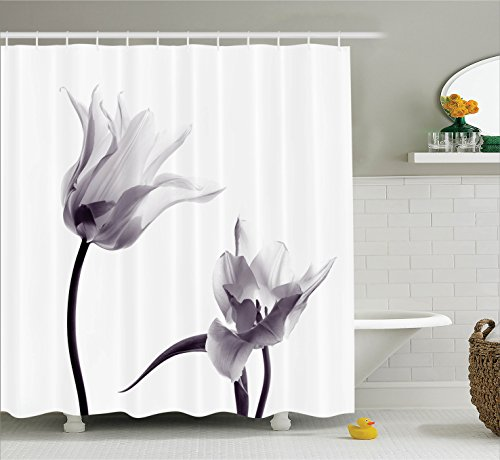 House Decor Shower Curtain by Ambesonne, Close Up Digital Saturated Tulip Petals with Minimalist Faded Effect Artsy Image, Polyester Fabric Bathroom Set with Hooks, 75 Inches Long, Lilac and White ()