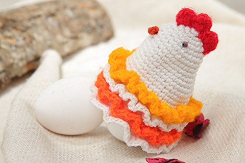 - Handmade Decorative Colorful Soft Crocheted Painted Egg Cover Easter Chicken