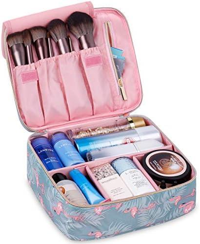 Travel Makeup Bag Large Cosmetic Bag Makeup Case Organizer for Women and Girls (Flamingo) 1