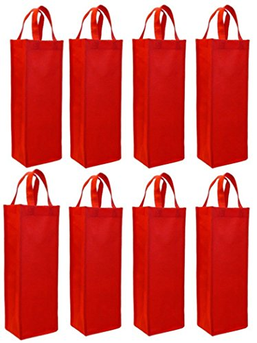 wish you have a nice day 8 Pack red Non-Woven Single Bottle Wine Tote Bag Holder, Reusable Gift Bag (8, Red)