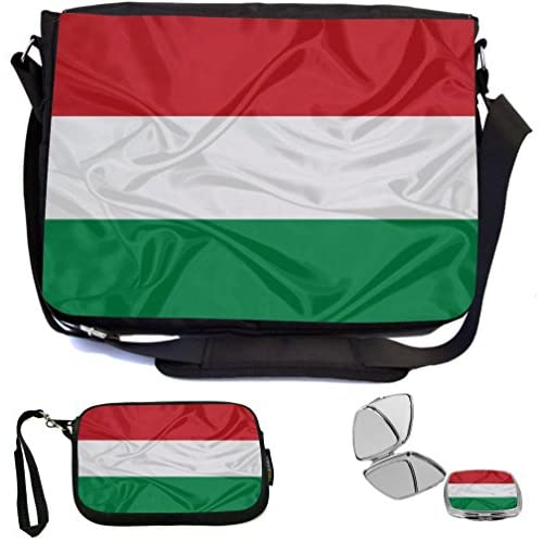 Rikki Knight Hungary Flag Design COMBO Multifunction Messenger Laptop Bag - with padded insert for School or Work - includes Wristlet & Mirror