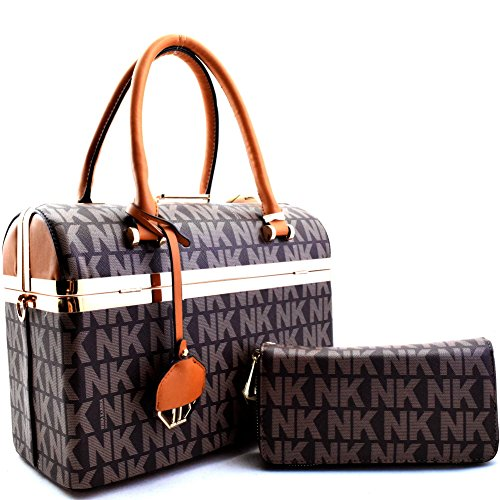 "'nina Karina"" Nk Signature Bottom Compartment Boston Satchel Set Brown"