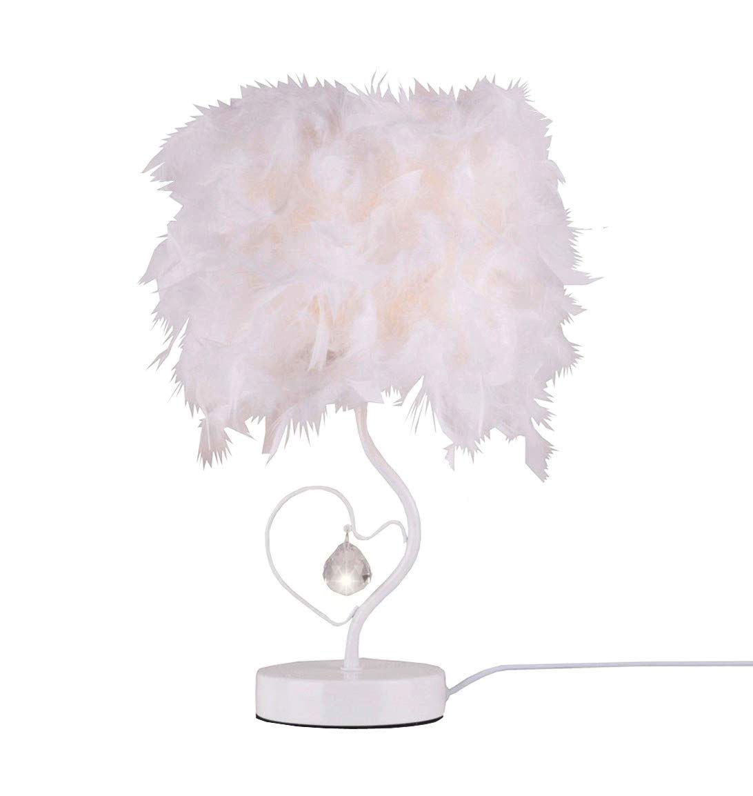 Surpars House Heart Shape White Feather Deco Desk Lamp Crystal Bedside Table Lamp [Energy Class A+] Surpass Lighting S01700600001