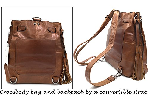 Frange Donne Convertibile Hobo Unico Design Zaino Marrone In Pizzo Crossbody Occidentali Di Pelle Sheli Bag q104Rwxx