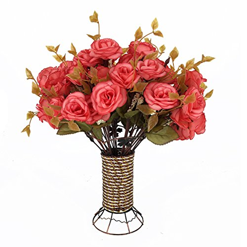 Garwarm 4 Branch 56 Heads Artificial Silk Fake Flowers Leaf Rose Wedding Home Office Floral Decor Bouquet with Iron Vase,(Pink)