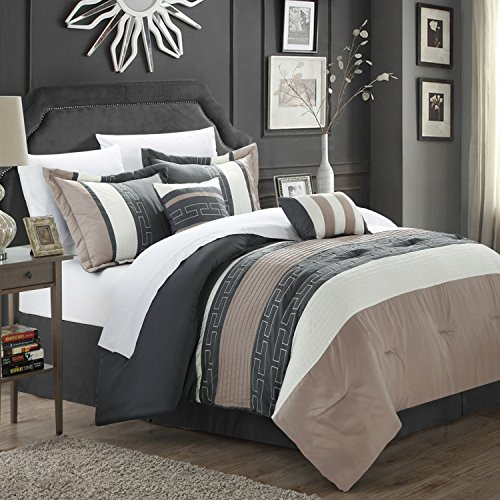 Wholesale King Size Hotel Collection Comforter Set in Taupe / Gray Color Block with Geometric Patterns - 6 Pieces for sale