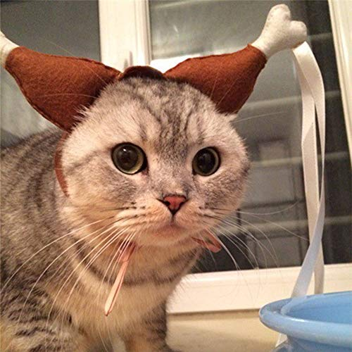Glumes Cat Dog Hat Funny Cute Turkey Chicken Drumstick Headband Hat for Dogs Puppy Cats Party Clothes, Christmas Halloween Cosplays Accessories Holiday Costume Supplies (L, Brown)