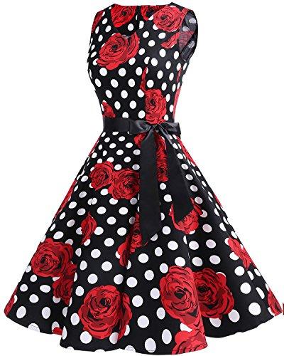 White Neck 1950s V Audrey Rockabilly Flower Vintage Women's Black Classy Bridesmay Dress Swing Hepburn Dot qw7tTWY