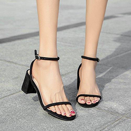 Rocío Zapatos Negro Versátil Fijaciones De Toe Gruesas GAOLIM Y Alto Casual Y Ranuradas Con Hembra Sandalias Verano Tacón qpXzxgwT7x