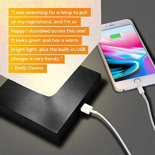 Brightech Grace LED USB Bedside Table & Desk Lamp – Modern Lamp with Soft, Ambient Light, Unique Lampshade & Functional USB Port – Perfect for Table in Bedroom, Living Room, or Office - Black by Brightech (Image #3)