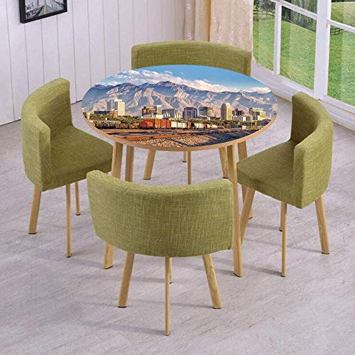 (VAMIX Round Table/Wall/Floor Decal Strikers/Removable/Downtown Salt Lake City Skyline in Utah USA Railroads Mountains Buildings Urban/for Living Room/Kitchens/Office)