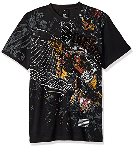 - Southpole Men's Short Sleeve Hd, Foil, Flock Print All Over Graphic Tee, Black, Medium