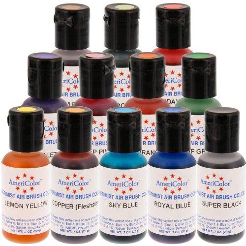 AmeriColor AmeriMist Airbrush Food Color Kit, 12 Color