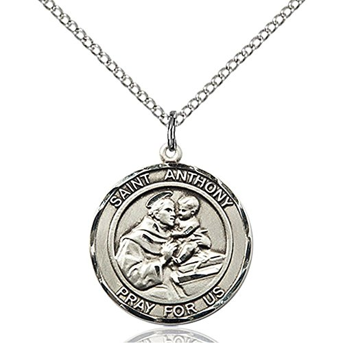 Sterling Silver St  Anthony Pendant 3 4 X 5 8 Inches With 18 Inch Sterling Silver Curb Chain