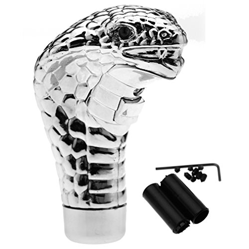 CAR MANUAL GEAR SHIFT LEVER KNOB SNAKE COBRA SHIFTER RED LED EYES CHROME