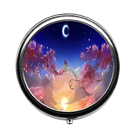 Star moon and girl sitting in the tree Round pill box/pill case 3 Compartments for Keeping Pills Separate pill box/pill - Sitting Girl