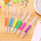 Drawihi Clear View Highlighter Stick Needle Markers Assorted Colors 6 Packs