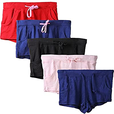 Godsen Womens Summer Pajama Sports Shorts Gym Workout 5 Pack